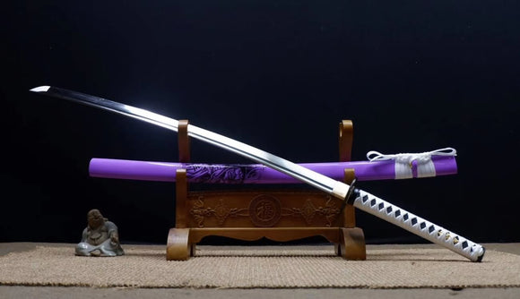 Samurai Practice Sword Forged high Carbon Steel Purple Scabbard