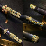 "Gecko sword(Damascus steel blade,Black wood,Copper fittings)Length 43"" - Chinese sword shop"