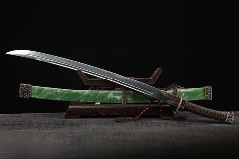 Qin Broadsword(Folded steel blade,Green skin Scabbard,Brass fitting)Length 37""