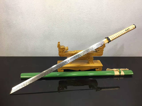 Tang dao(High manganese steel,Green scabbard,Alloy fitted)Full tang,Length 39""