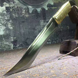 "Small knife,Bowie,High speed steel,Leather scabbard,Length 15.7"" - Chinese sword shop"