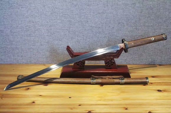 Tachi,Spring steel blade,Rosewood scabbard,Alloy fitting,Full tang - Chinese sword shop