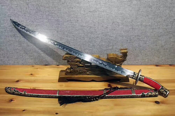 Broadsword,Damascus steel burn blade,Red skin scabbard,Brass fitting - Chinese sword shop