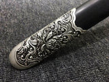 Peony sword(Damascus steel blade,Black wood,Alloy)Hand Forged