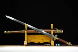 Peony sword,Hand forged,Damascus steel blade,Brass fitting,Rosewood - Chinese sword shop