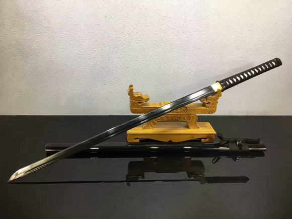 Ninja Sword,Japanese sword(Medium carbon steel black blade,Wood scabbard)Full tang - Chinese sword shop