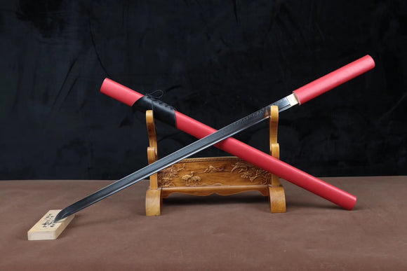 Ninja sword,High carbon steel burn blade,Leather scabbard&Handmade art - Chinese sword shop