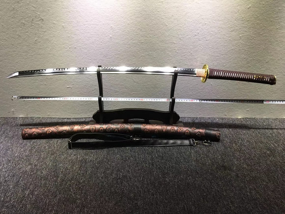 Nihontou katana,High carbon steel burn blade,Leather,Alloy - Chinese sword shop