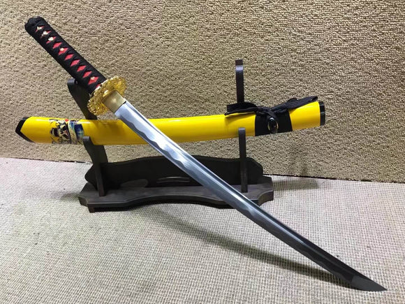 Samurai sword,Medium carbon steel,Yellow scabbard,Alloy Tsuba,Length 30 inch - Chinese sword shop