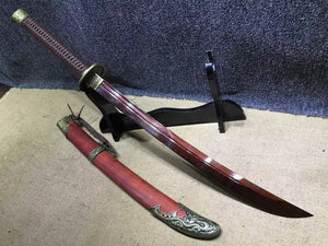 Broadsword,Damascus steel red blade,Red scabbard,Alloy fitting - Chinese sword shop