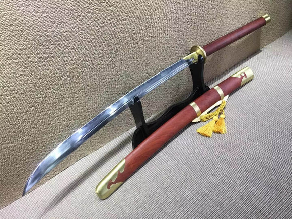 Horse chopping sword/T10 high carbon steel/Redwood,Brass/Full tang - Chinese sword shop