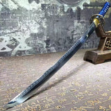 Katana,High manganese steel surface etched pattern,Blue scabbard,Full tang,Length 29 inch - Chinese sword shop