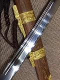 Qing broadsword,T10 high carbon steel burn blade,Rosewood,Alloy