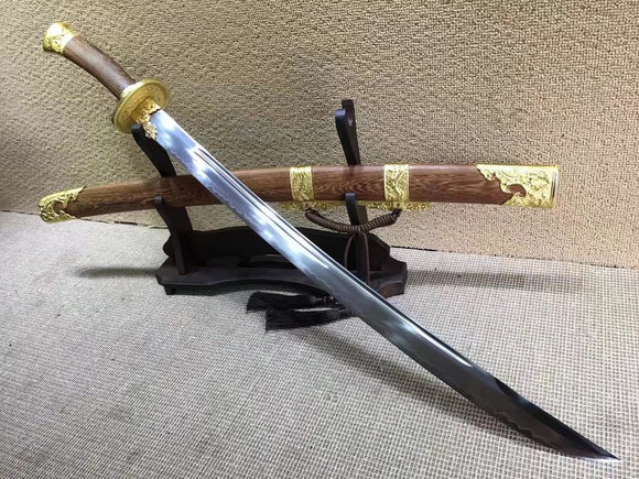 Qing broadsword,T10 high carbon steel burn blade,Rosewood,Alloy - Chinese sword shop