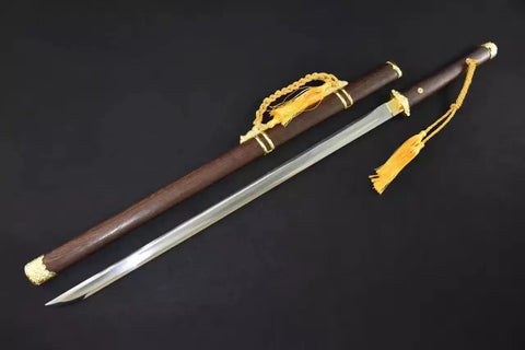 Tang sword,High carbon steel blade,Rosewood,Alloy fitting,Length 39""