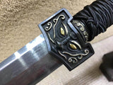 "Han sword(Damascus steel octahedral bade,Black wood,Brass fittings)Length 41"" - Chinese sword shop"