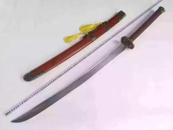 Dragon Dao,Sword,Damascus steel blade,Redwood,Alloy,Length 46