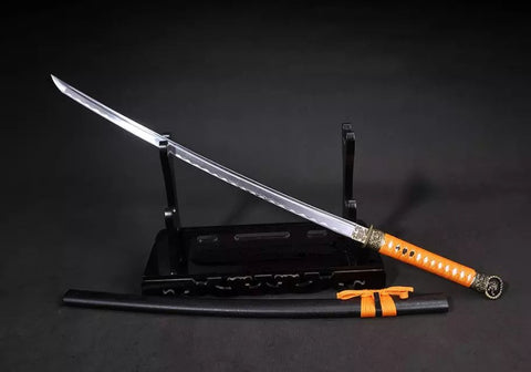 Samurai sword,Nihontou,Medium carbon steel,Wood scabbard,Alloy fitting,Full tang,Length 39 inch