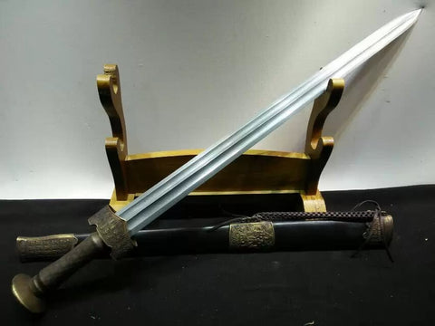 Hyakuhisa sword(Damascus steel bade,Black scabbard,Brass fittings)Length 29""