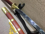 Horse chopping sword/T10 high-carbon steel/Redwood,Brass/Full tang