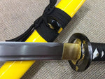 "katana(Medium carbon steel blade,Yellow scabbard,Alloy fitted)Full tang,Length 39"" - Chinese sword shop"