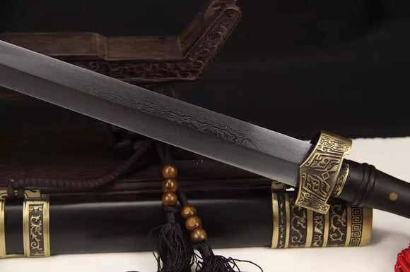 Wolong sword,Folded steel,Black wood scabbard,Copper fitting,Length 39 inch - Chinese sword shop