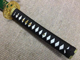Samurai sword,Medium carbon steel,Green scabbard,Alloy fitted,Length 39 inch - Chinese sword shop