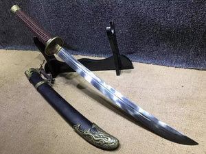 Broadsword,Damascus steel blade,Black scabbard,Alloy fitting&Handmade art - Chinese sword shop