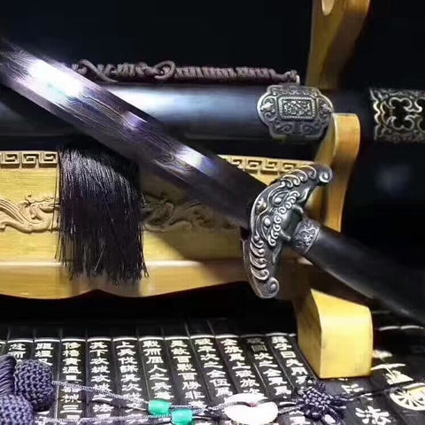 Qianlong sword,Damascus steel blue blade,Brass fittings,Black wood scabbard