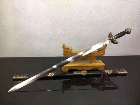 Qianlong sword(Folding pattern steel blade,Ebony Scabbard,Brass fittings)