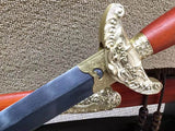 Qianlong sword,Pattern steel blade,Red scabbard,Brass fittings