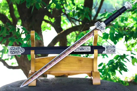 Chinese swords,Qin sword,High manganese steel red blade,Black wood scabbard,Silver alloy fitting,Length 31 inch