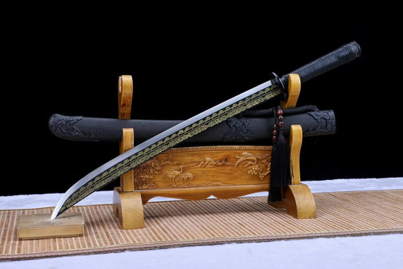 Qin dao saber(Forged High carbon steel etch blade, Leather wooden scabbard)Battle ready,Chinese sword