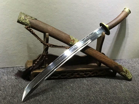 Broadsword,High carbon steel burn blade,Rosewood,Alloy fittings