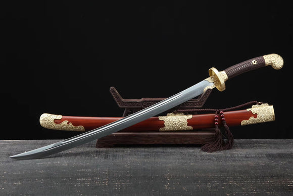 Qing dao sword,Damascus steel blade,MAHOGANY scabbard,Brass - Chinese sword shop