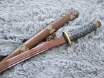 Qing sword,Hand Forged Damascus steel blade,Rosewood,Alloy