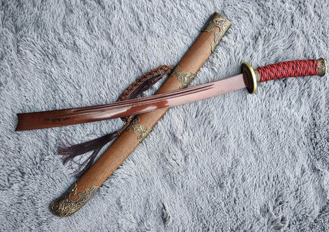 Broadsword,Damascus steel red blade,Rosewood,Alloy
