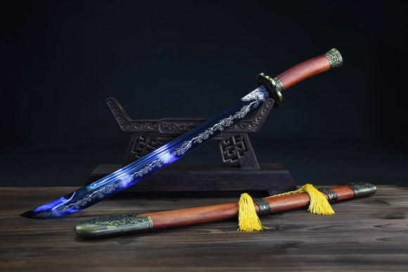 Qing dao sword,High carbon steel etch blade,Redwood,Alloy - Chinese sword shop