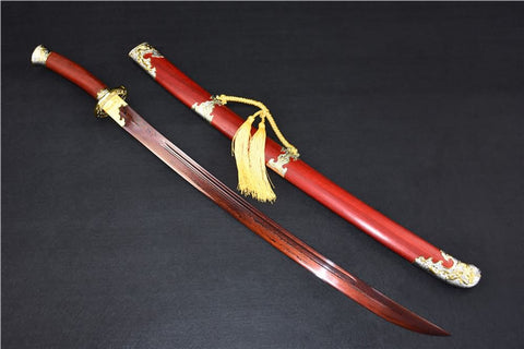 Qing dao sword,Damascus steel red blade,Redwood scabbard