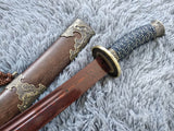 Qing sword,Hand Forged Damascus steel blade,Rosewood,Alloy - Chinese sword shop