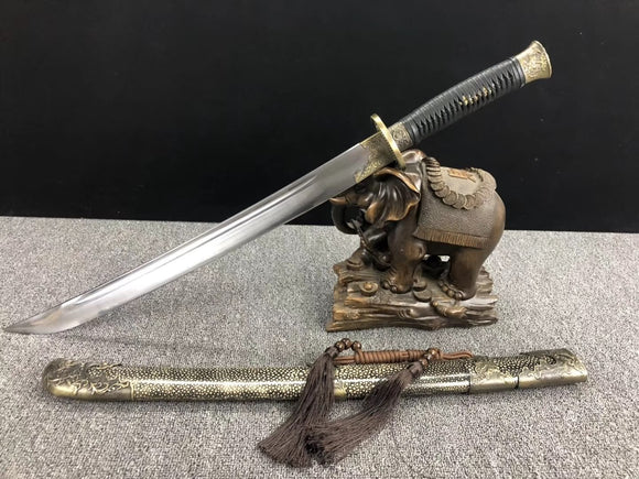 Qing dao,Handmade(High carbon steel blade,Skin scabbard,Alloy)Full tang - Chinese sword shop