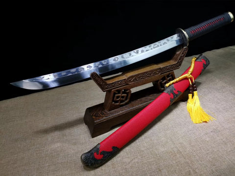 Red scabbard Broadsword,High carbon steel blade - Chinese sword shop