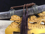 Broadsword,High carbon steel black blade,Skin scabbard,Alloy&Handmade art - Chinese sword shop