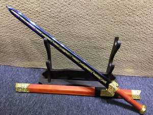 Qin sword,High carbon steel blue blade,Redwood scabbard,Alloy fittings - Chinese sword shop