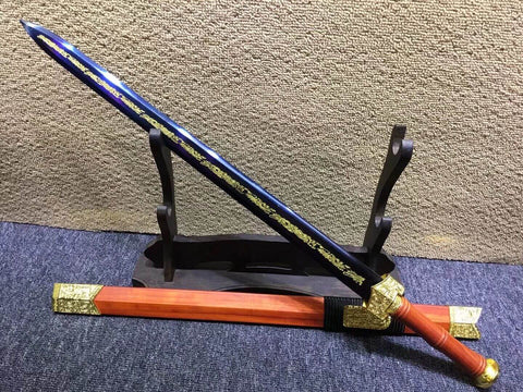 Qin sword,High carbon steel blue blade,Redwood scabbard,Alloy fittings
