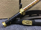 Qin jian,High manganese steel blade,Black scabbard,Alloy fittings,30inch - Chinese sword shop