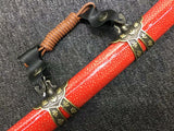 Tachi,Red skin scabbard,Damascus steel burn blade,Brass,Full tang - Chinese sword shop