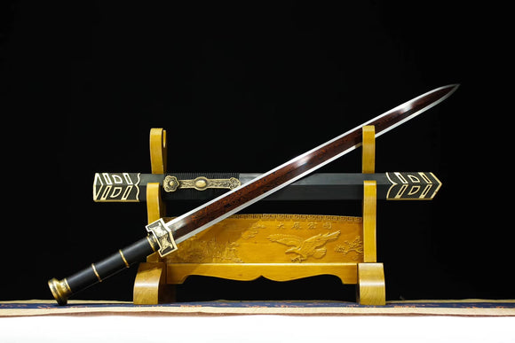 Ruyi jian,Handmade Damascus steel red bade,Black wood,Brass,Full tang - Chinese sword shop