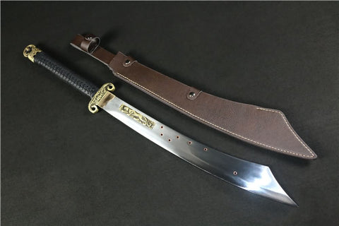 Anti Japanese sword,Handmade high carbon steel blade,Leather scabbard - Chinese sword shop