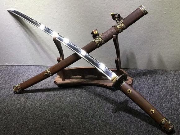 Nihontou Tachi,katana,High carbon steel burn blade,Rosewood,Brass tosogu - Chinese sword shop